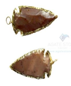 Red Electroplated Agate Stone Arrowhead