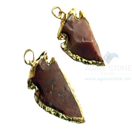 Red Electroplated Agate Stone Small Arrowhead