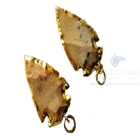 White Electroplated Agate Stone Small Arrowhead