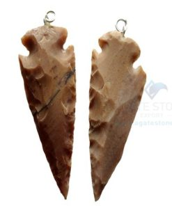 White Shaded Agate Arrowhead Pendant