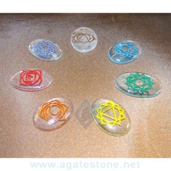 7 Chakra Clear Crystal Quartz Engraved Oval Set