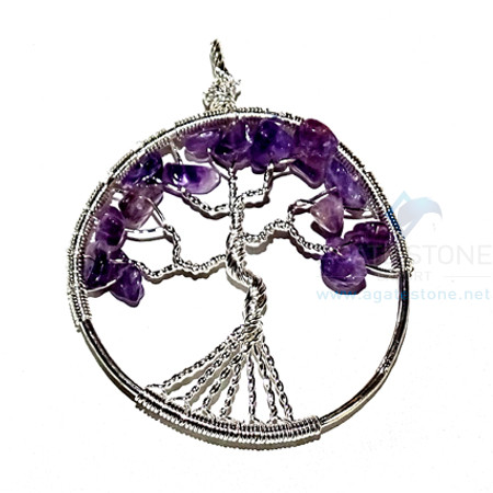 Amethyst Flower Shaped Life of Tree Metal Pendant