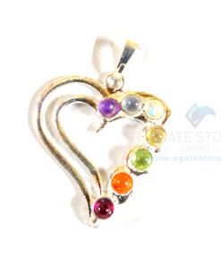 Chakra Loved Heart Shaped Metal Pendant