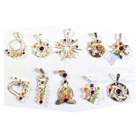 Chakra Mix Shaped Metal Pendants
