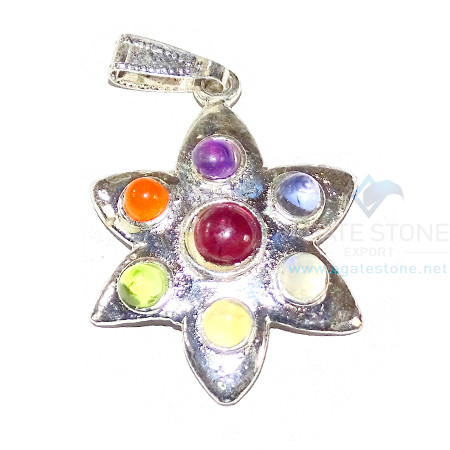 Chakra Star Shaped Metal Pendant