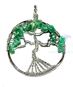 Green Aventurine Flower Shaped Tree of Life Metal Pendant