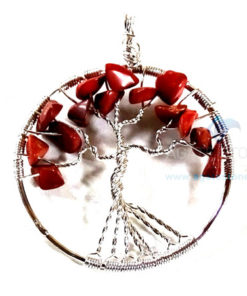Red Jasper Flower Shaped Metal Pendant