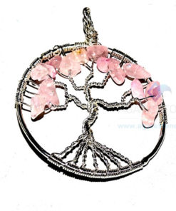 Rose Quartz Flower Shaped Tree of Life Metal Pendant