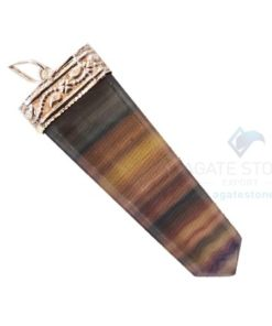 Multi Flourite Flat Gemstone Pencil Pendants