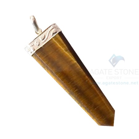 Tiger Eye Flat Gemstone Pencil Pendants