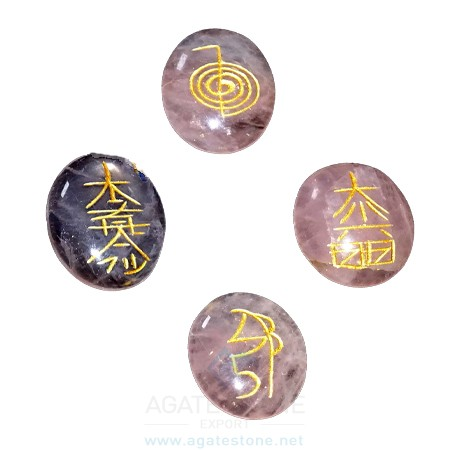 Amethyst Indian Quality Reiki Oval Sets (3)