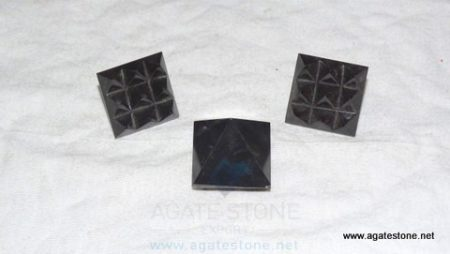 Black Agate Vastu Pyramid with Nine Pyramid in Base