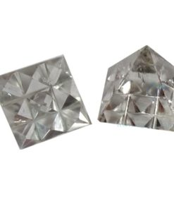 Clear Crystal Quartz Vastu Pyramid with Nine Pyramid in Base