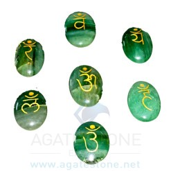Green Aventurine Engraved Sanskrit Oval Chakra Set (6)