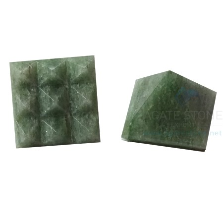 Green Aventurine Vastu Pyramid with Nine Pyramid in Base