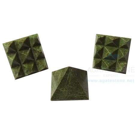 Green Jasper Vastu Pyramid with Nine Pyramid in Base