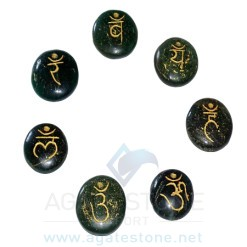 Green Mica Engraved Sanskrit Disc Chakra Set