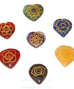 Heart Shaped Seven Chakra Stone Symbol Engraved Set (5)