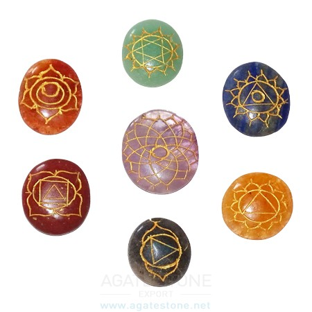 Oval Shaped Engraved Chakra Stone Symbol Set (4)