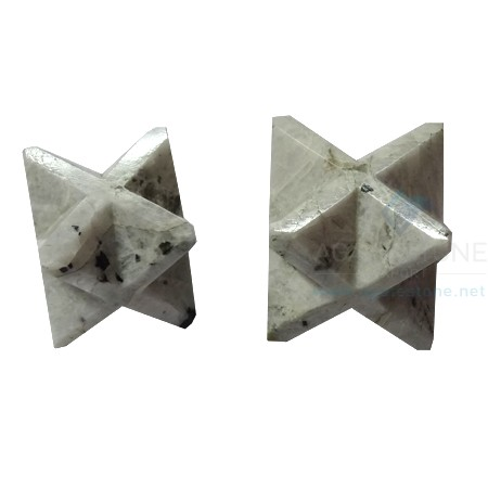 Rainbow Moonstone Big Merkaba Stars