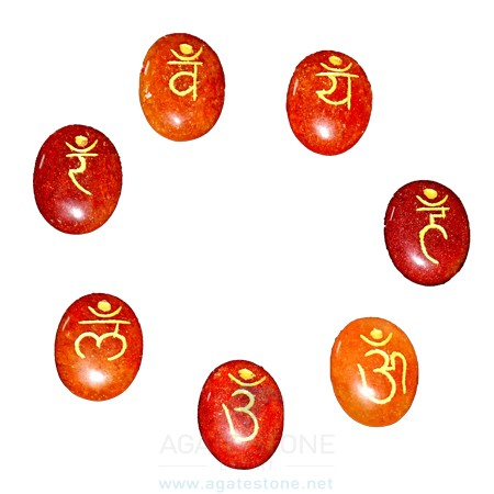 Red Aventurine Engraved Sanskrit Oval Chakra Set (4)