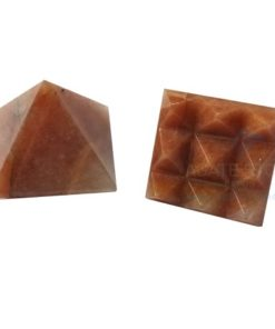 Red Aventurine Vastu Pyramid with Nine Pyramid in Base