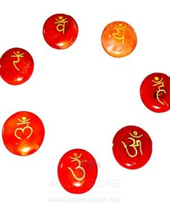 Red Carnelian Engraved Sanskrit Disc Chakra Set (3)