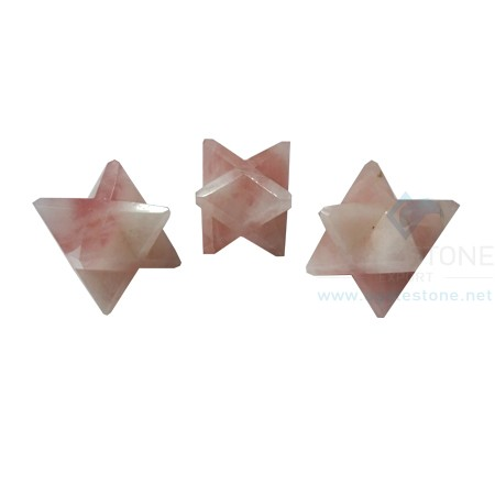Rose Quartz Big Merkaba Star