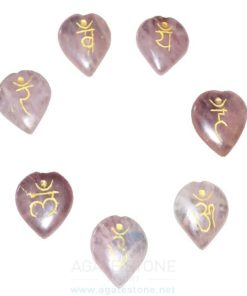 Rose Quartz Engraved Sanskrit Heart Chakra Set (3)