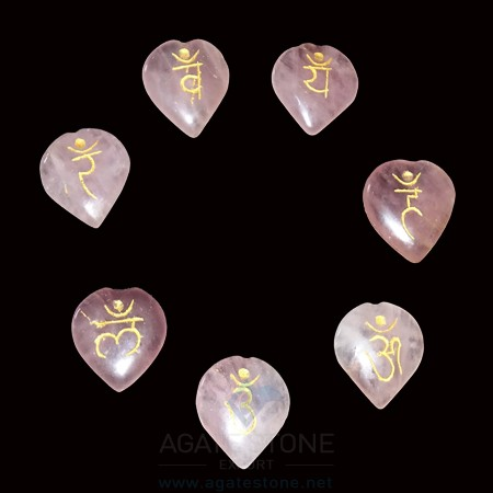 Rose Quartz Engraved Sanskrit Heart Chakra Set (4)