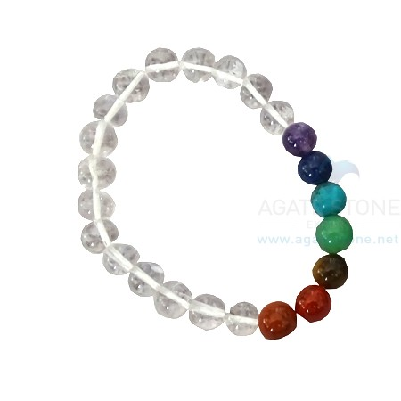 Seven Chakra With Clear Crystal Quartz Beaded Bracelets
