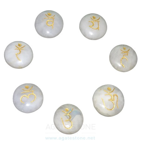 White Agate Engraved Sanskrit Disc Chakra Set (3)