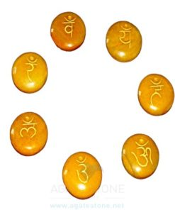 Yellow Aventurine Engraved Sanskrit Disc Chakra Set (2)