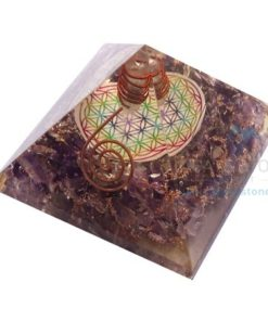 Amethyst Flower of Life Chakra Pyramid with Clear Crystal Point