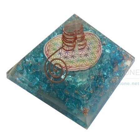 Blue Onyx Orgone Chakra Pyramid with Flower of Life