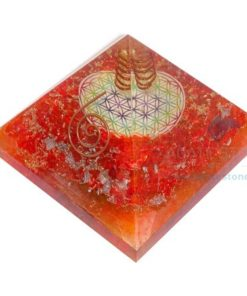 Orange Onyx Mix Chakra Flower of Life Orgone Pyramids
