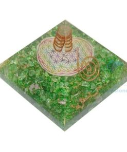 Orgone Green Onyx Flower of Life Chakra Pyramid