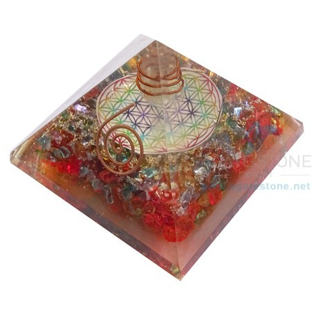 Orgone Mix Onyx Chakra Flower of Life Pyramid with Natural Clear Point