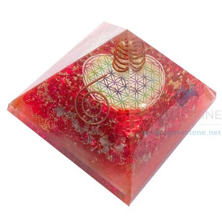 Orgone Red Onyx Flower of Life Orgonite Chakra Pyramid