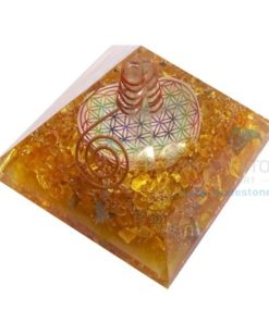 Orgone Yellow Chakra Onyx Flower of Life Pyramid