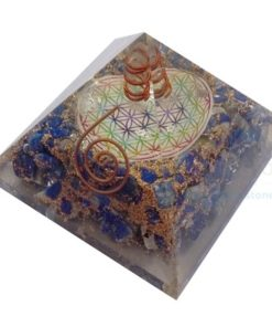 Orgonite Lapis Lazuli Orgone Chakra Flower of Life Gemstone Pyramid