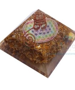 Orgonite Yellow Camel Jasper Flower of Life Chakra Orgone Pyramids