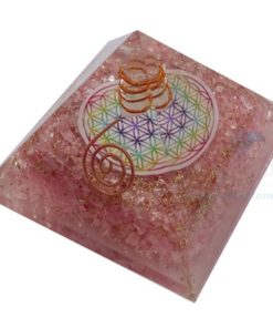 Rose Quartz Orgone Chakra Pyramid with Flower of Life and Charged Crystal Point Orgonite Pyramid