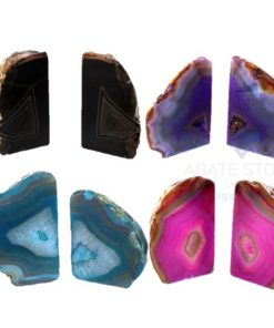 Agate Bookends with Attractive Strong Dyed Colors