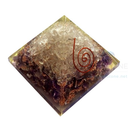 Amethyst-Crystal Quartz Orgonite Pyramid