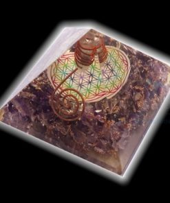 Amethyst Orgone Flower of Life Chakra Pyramid with Clear Crystal Point