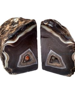 Black Dyed Natural Agate Bookends