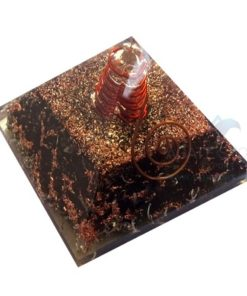 Black Tourmaline Orgone Healing Pyramid with Copper Wrapped Crystal Point