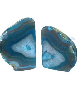 Blue Dyed Agate Natural Bookends