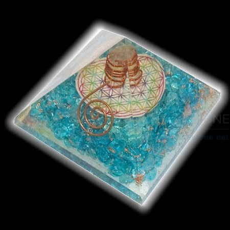 Blue Onyx Orgone Chakra Pyramid with Flower of Life Wholesale Supplier India